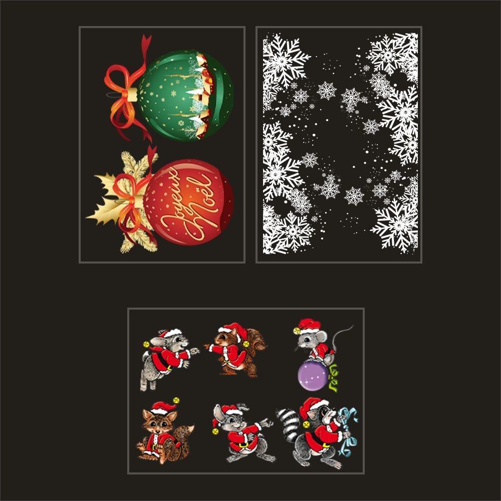 Kit promo 3 vitrophanies boules géantes, cristaux et animaux déguisés (photo)