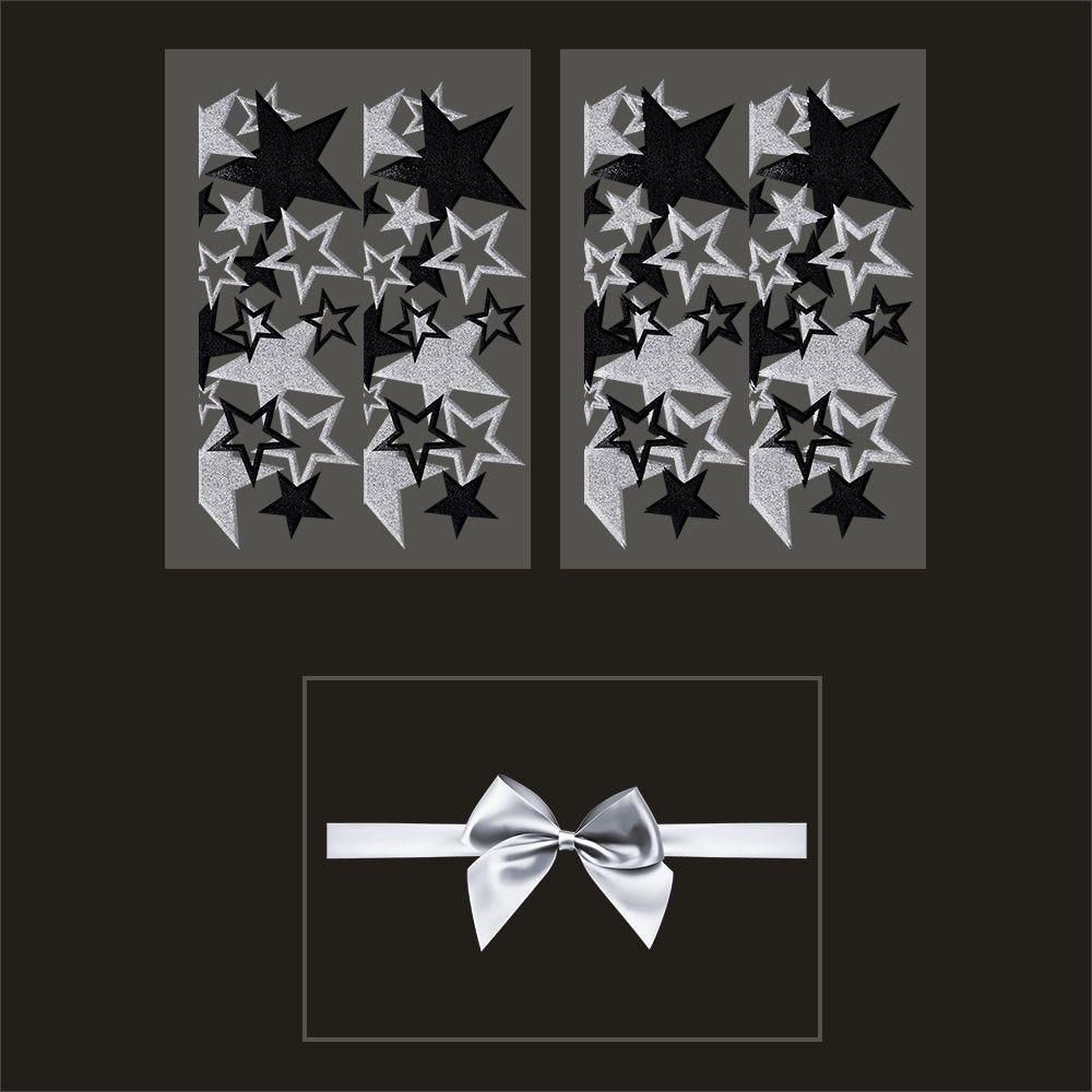 Kit promo 3 vitrophanies frises d'étoiles noires et argent et nœud cadeau (photo)