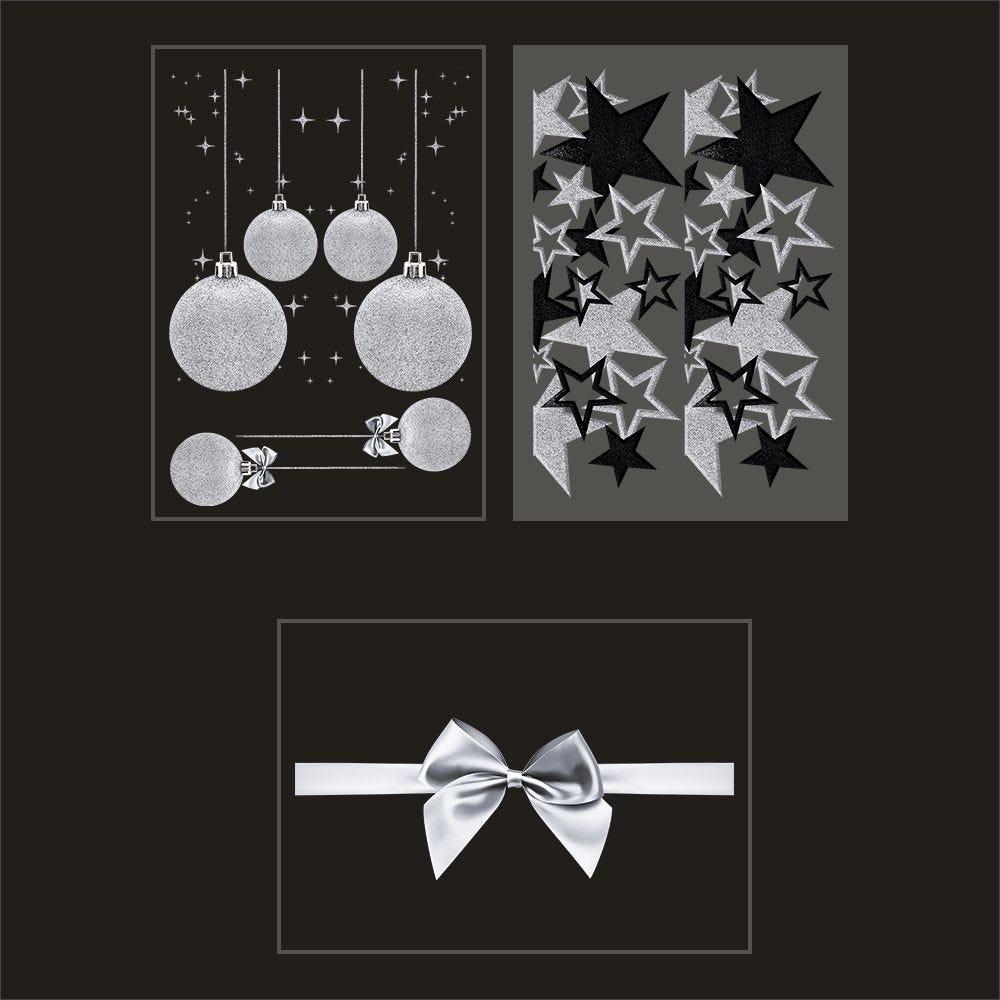 Kit promo 3 vitrophanies boules, frises d'étoiles noires et argent, nœud cadeau (photo)