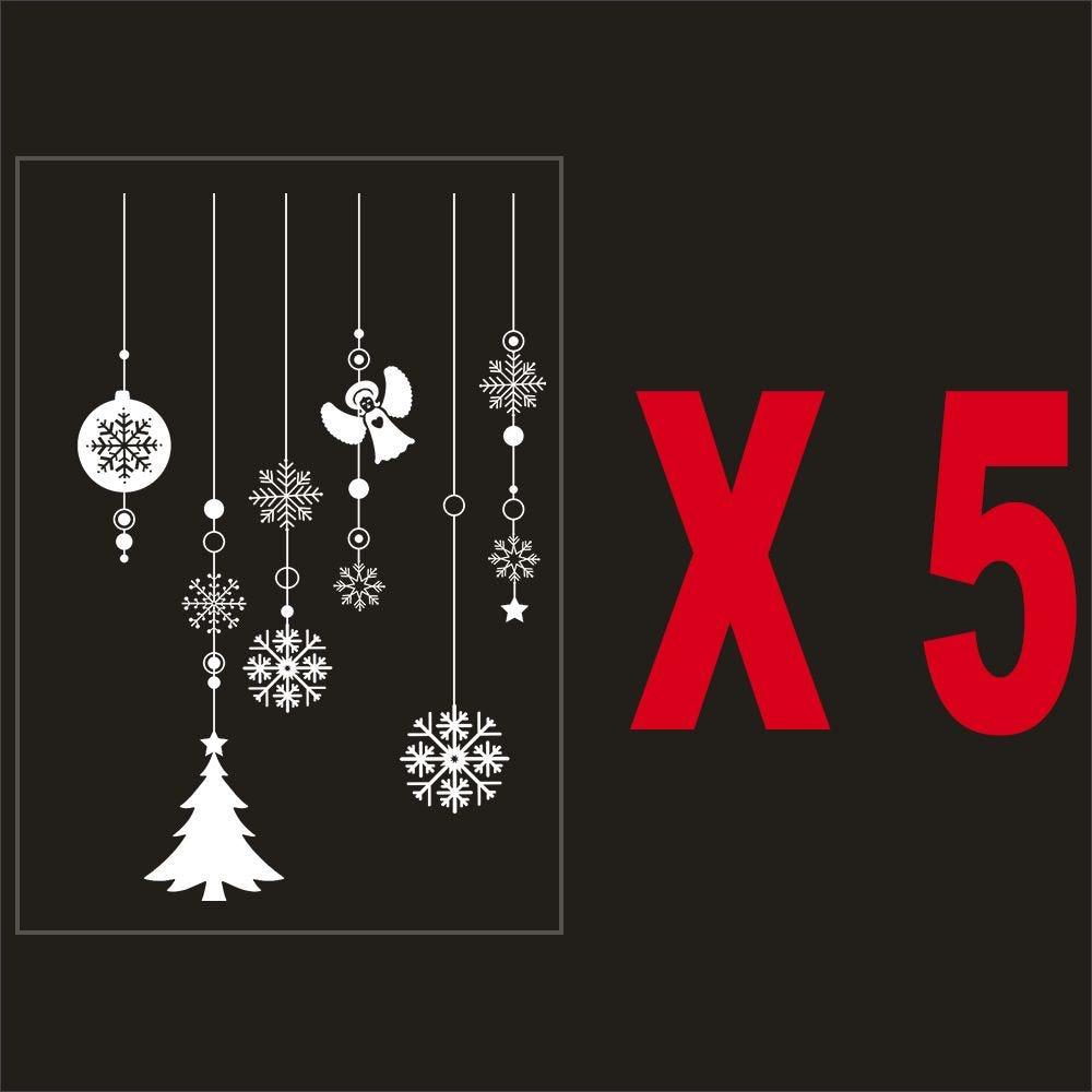 Pack promo 5 vitrophanies suspensions décors de noël
