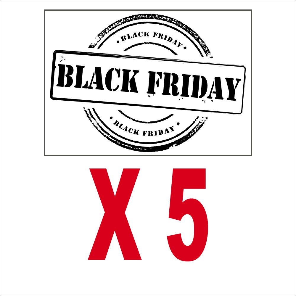 Pack promotionnel 5 vitrophanies petits label black friday noirs