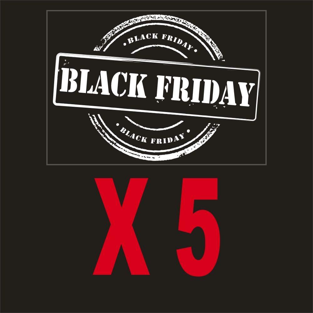 Pack promotionnel 5 vitrophanies petits label black friday blancs