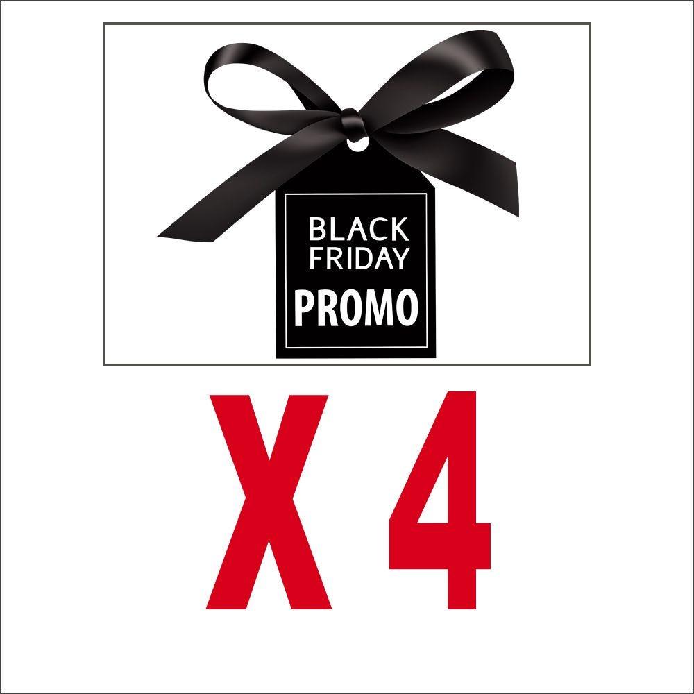 Pack promotionnel 4 vitrophanies etiquette rectangulaires black friday