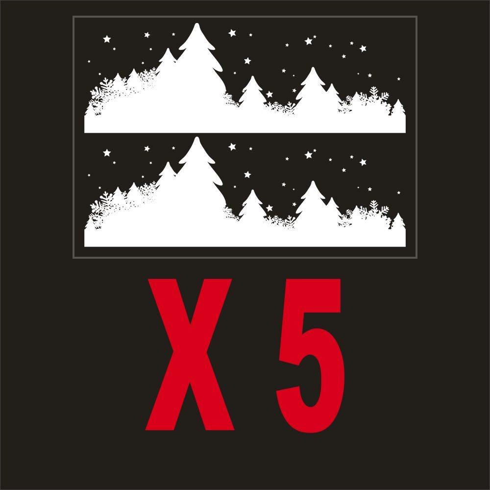Pack promo 5 vitrophanies frises de sapins, étoiles et cristaux