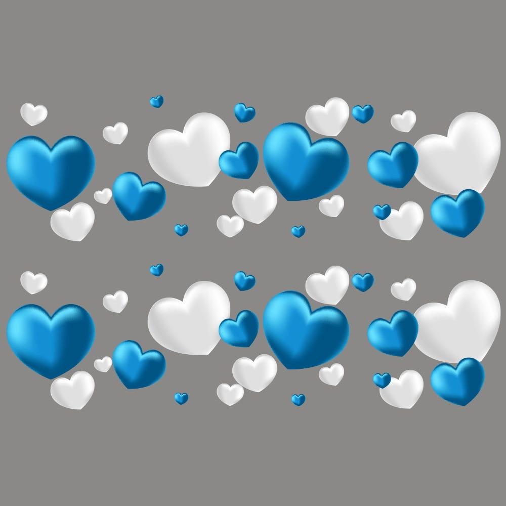 Vitrophanie frises de cœurs bleus et blancs - 70 x 100 cm