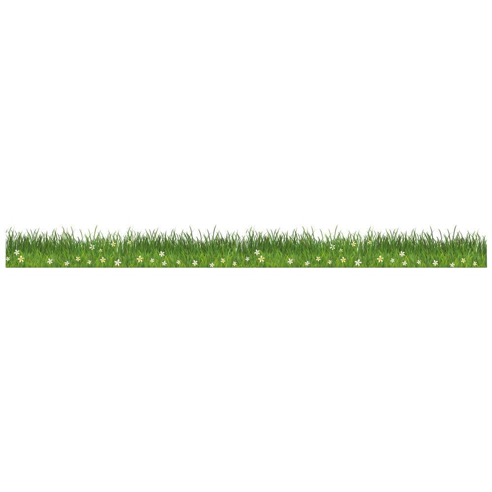 Vitrophanie petite  frise d'herbes et fleurs - 13,3 x 150 cm