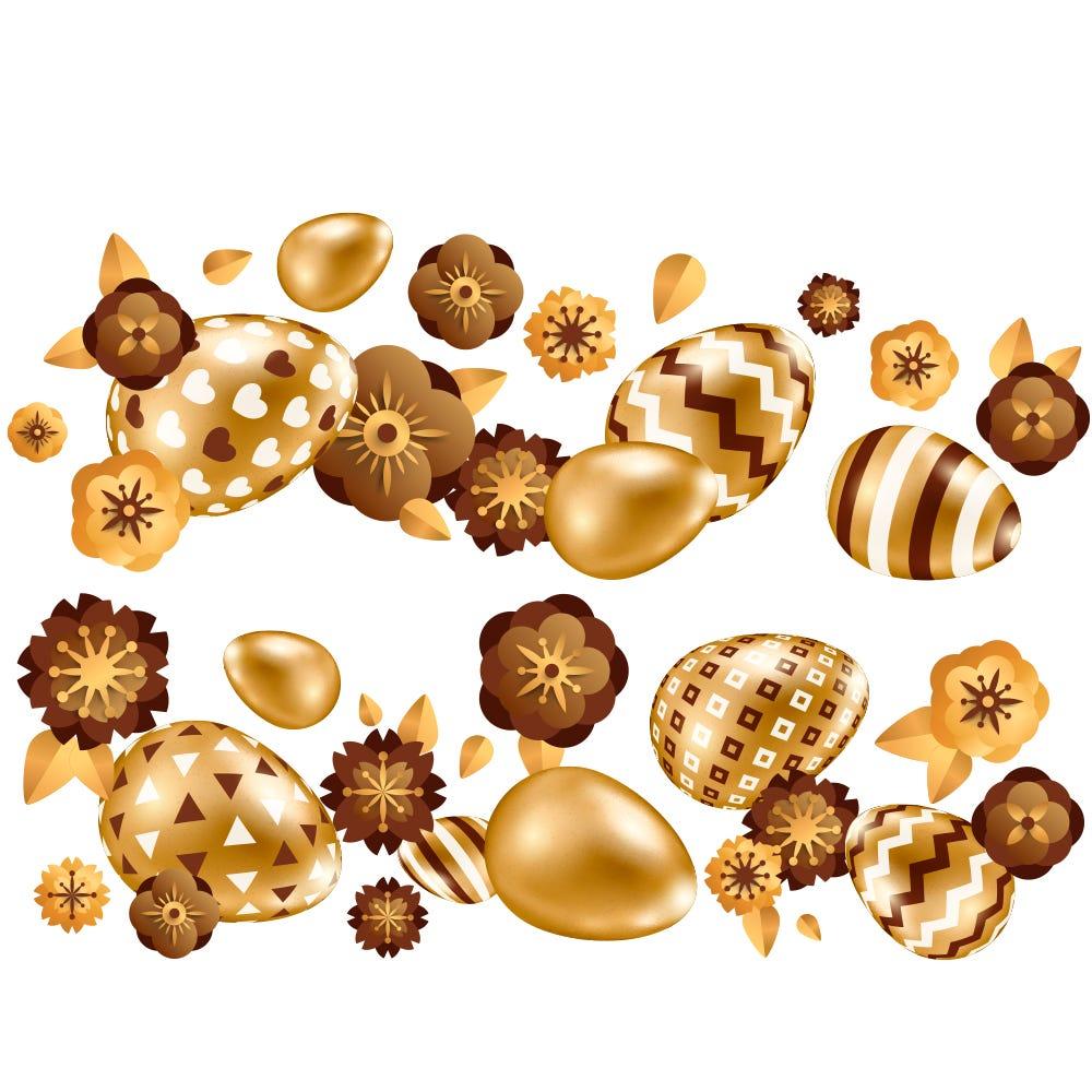 Vitrophanie frises d'œufs et fleurs or et chocolat horizontales - 70 x 100 cm