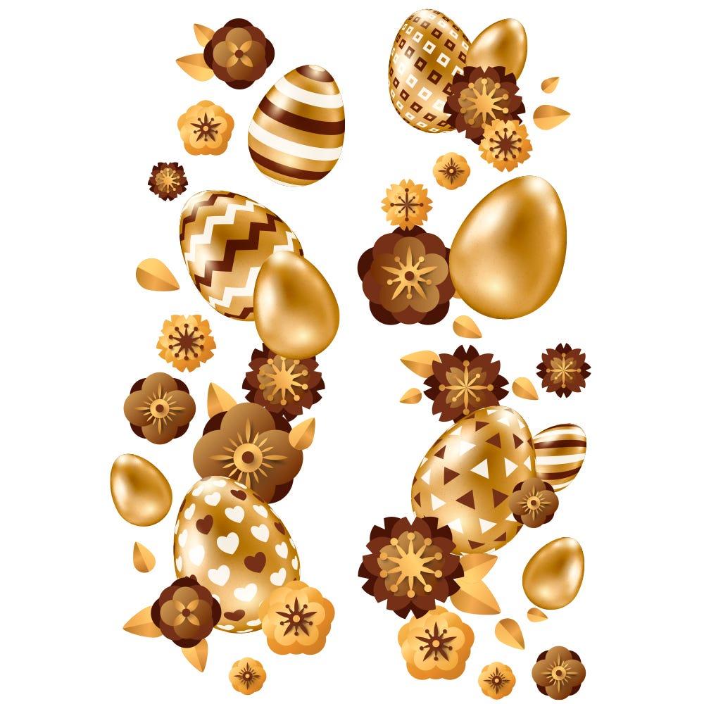 Vitrophanie frises d'œufs et fleurs or et chocolat verticales - 70 x 100 cm