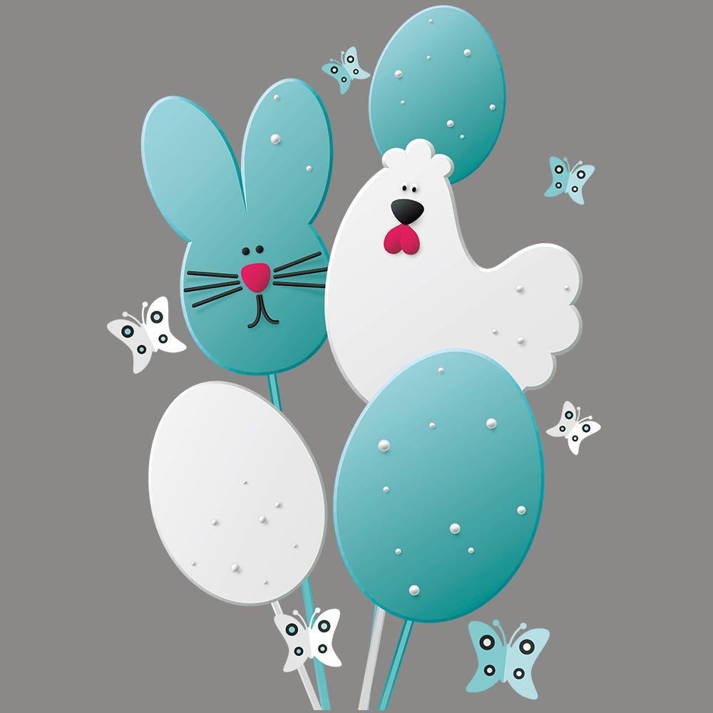 Vitrophanie petites lollipops de Pâques - Droite - 46,5 x 68 cm