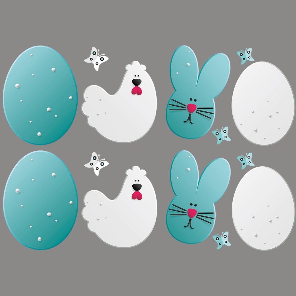 Vitrophanie petites frises d'œufs, poules, lapins et papillons - 50 x 70 cm
