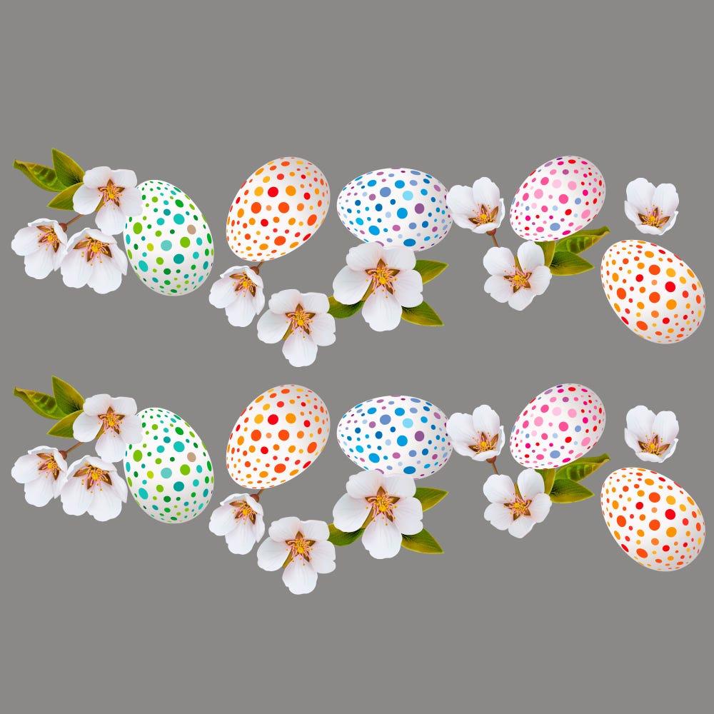 Vitrophanie frises d'œufs de Pâques et fleurs de cerisier - 70 x 100 cm