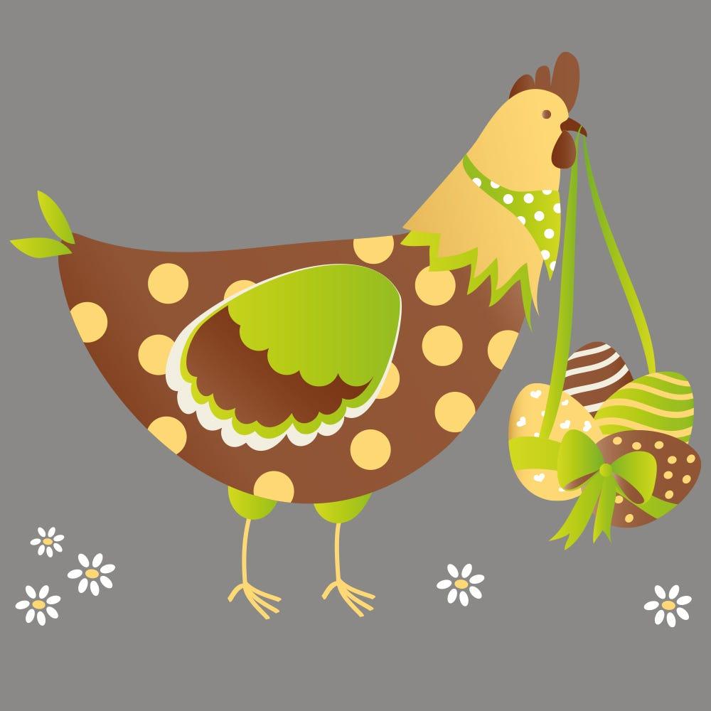 Vitrophanie petite poule de Pâques verte et chocolat - 48 x 57,6 cm
