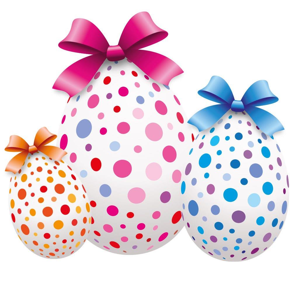 Vitrophanie petits œufs de Pâques orange, rose et bleu - 48 x 54,5 cm