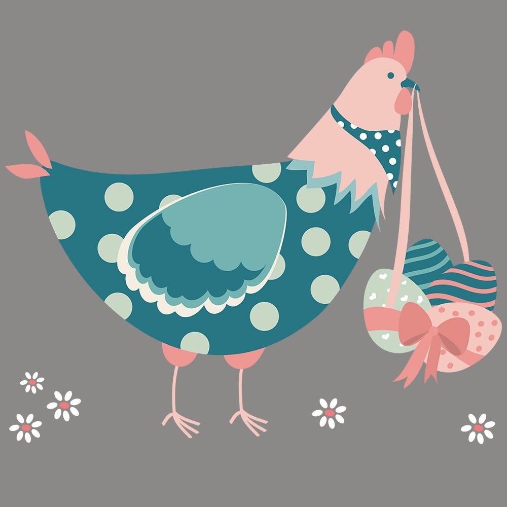 Vitrophanie petite poule de Pâques bleue et rose - 48 x 57,6 cm