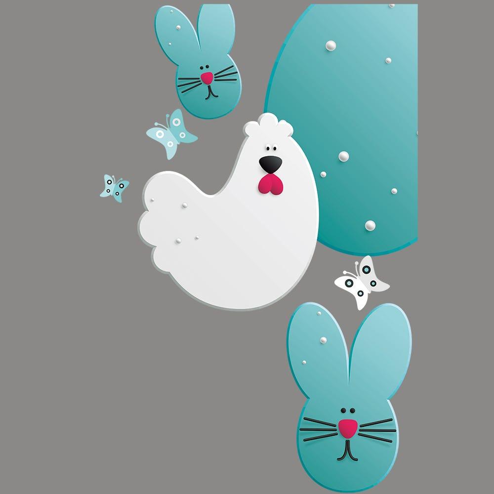 Vitrophanie petit angle droit poule, lapin et œufs de Pâques - 44,1 x 67,8 cm