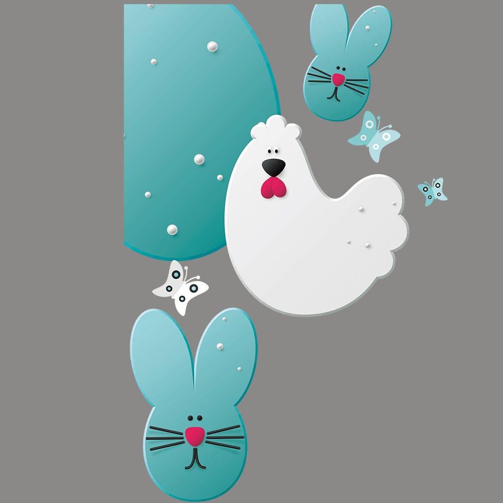 Vitrophanie petit angle gauche poule, lapin et œufs de Pâques - 44,1 x 67,8 cm