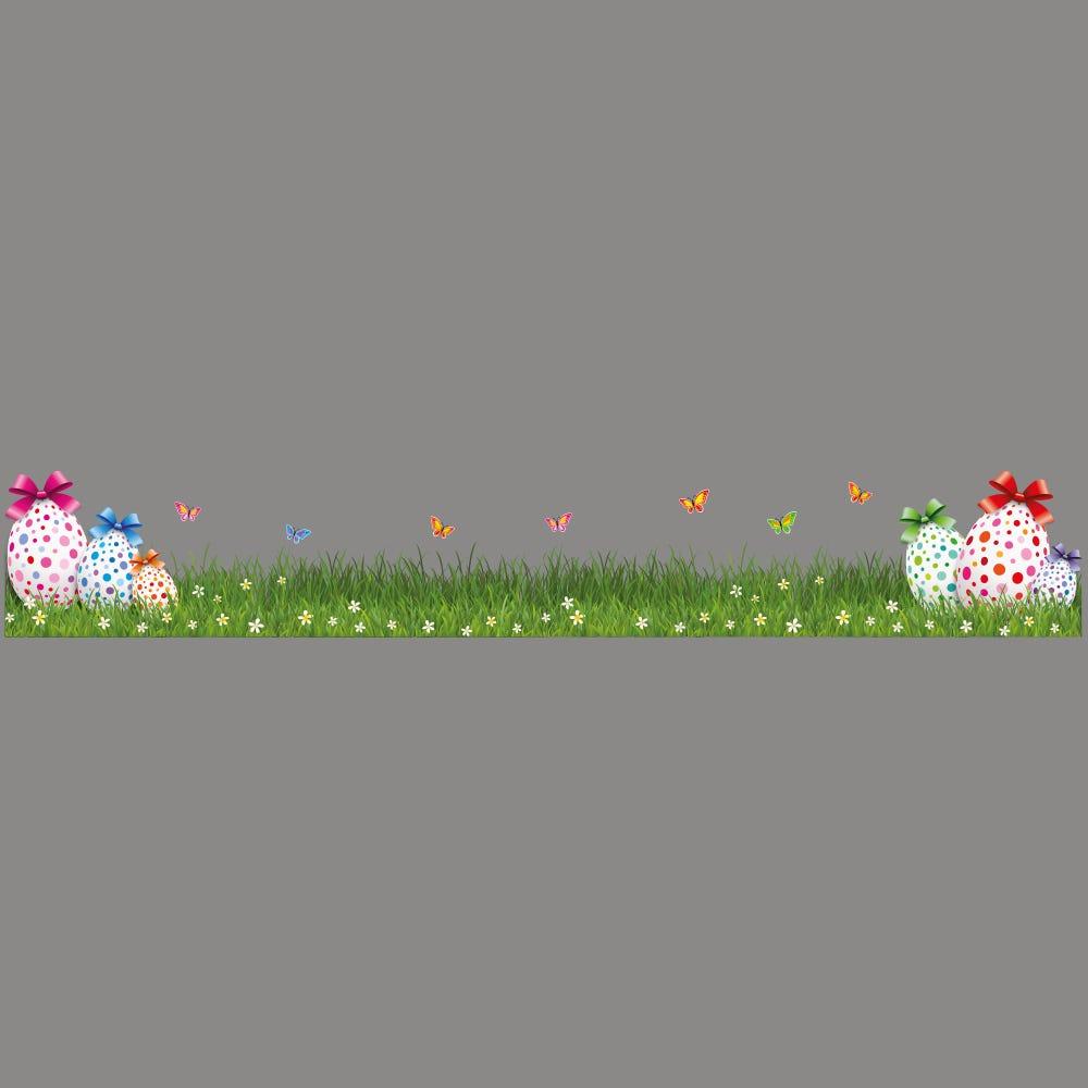 Vitrophanie petite frise d'herbes et œufs de Pâques - 23 x 150 cm