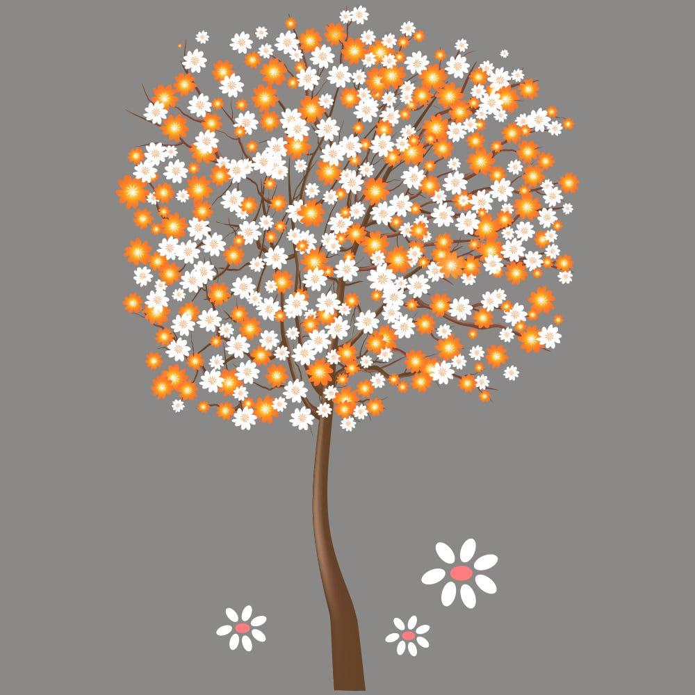 Vitrophanie petit arbre fleuri blanc et orange - 68 x 98 cm