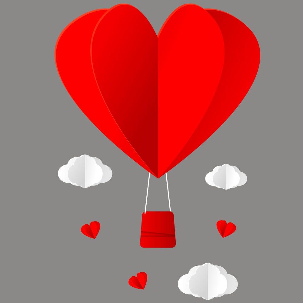 Vitrophanie petite  montgolfière cœur et nuages - 48 x 68 cm