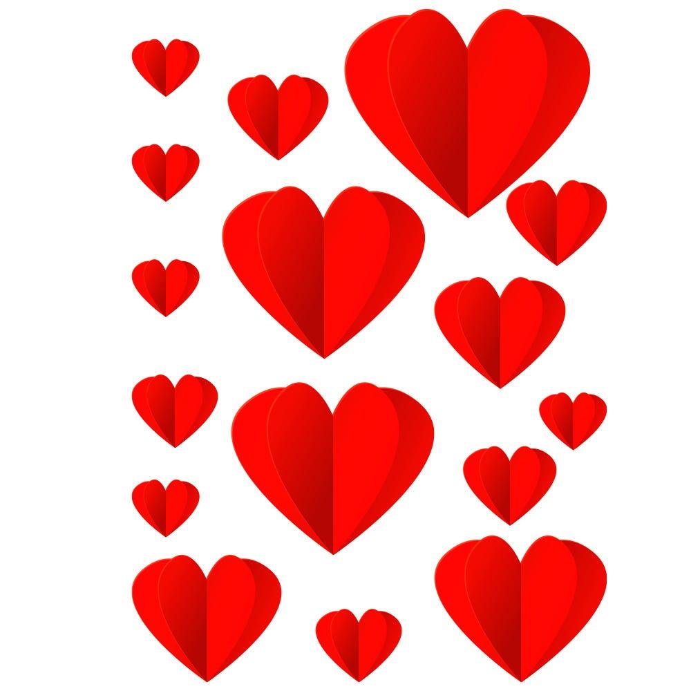 Vitrophanie petits cœurs rouges à découper - 50 x 70 cm