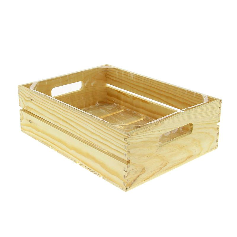 Cagette bois + fond plastique rectangle pm - par 12