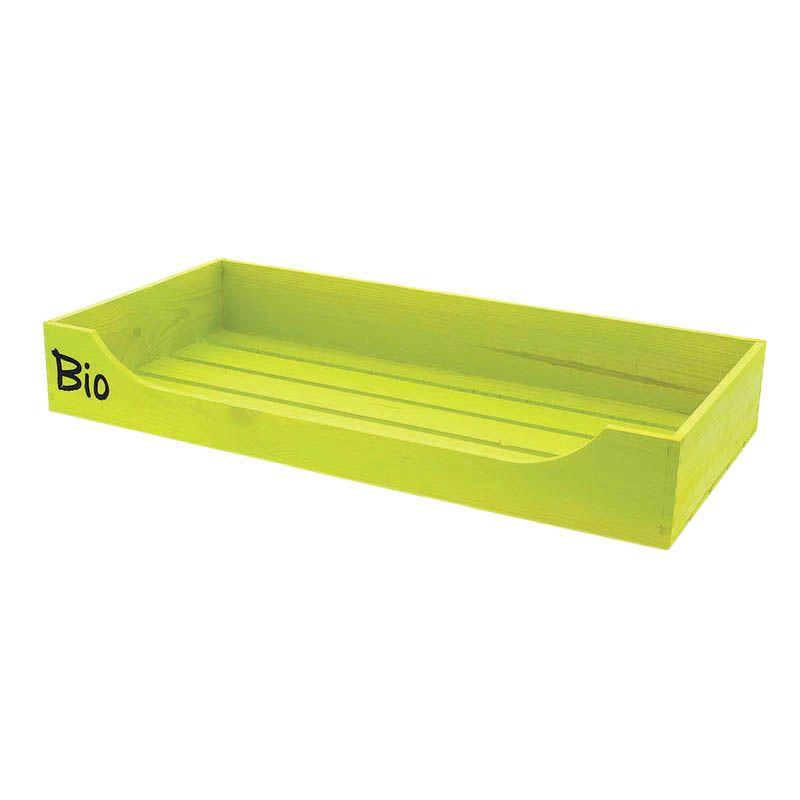 Cagette bois rectangle ouverte + logo bio - par 4