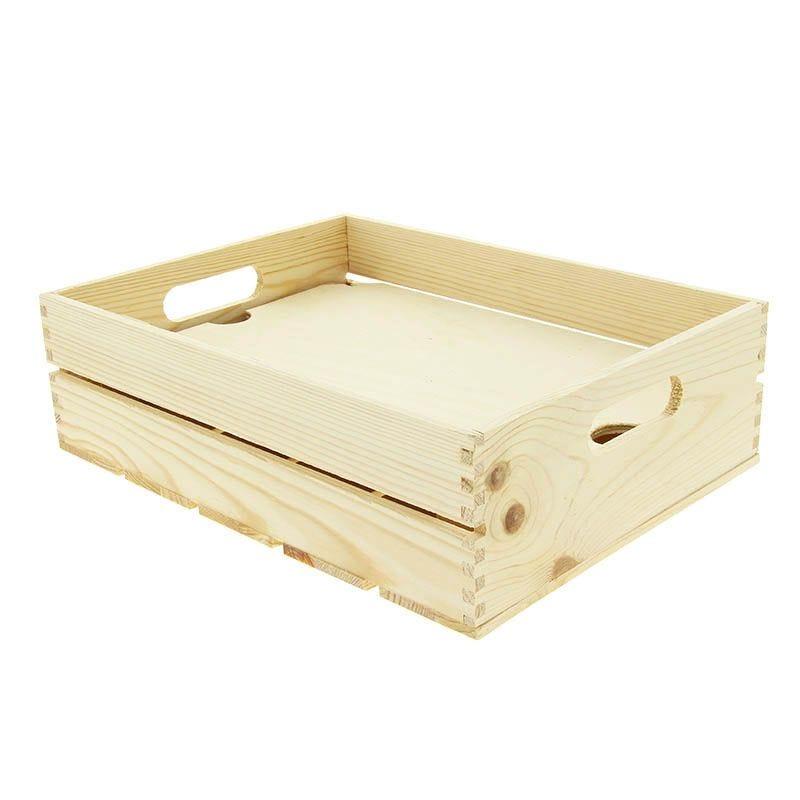 Cagette bois pm naturelle + faux fond bois - par 12