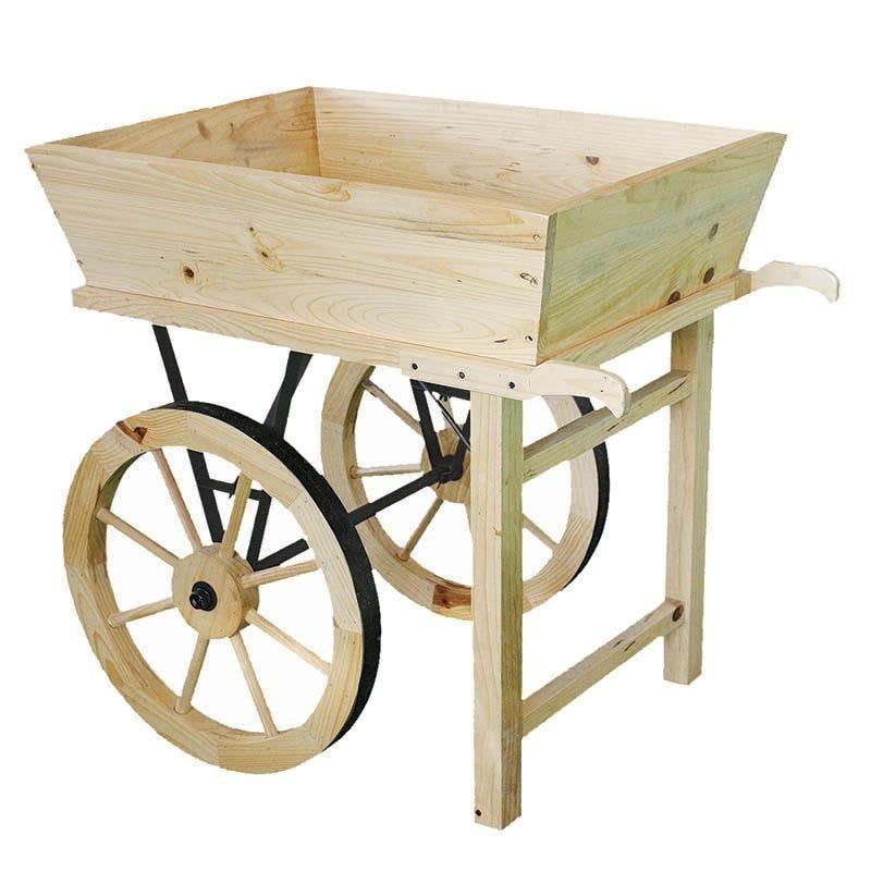 Presentoir charrette bois naturel - par 1