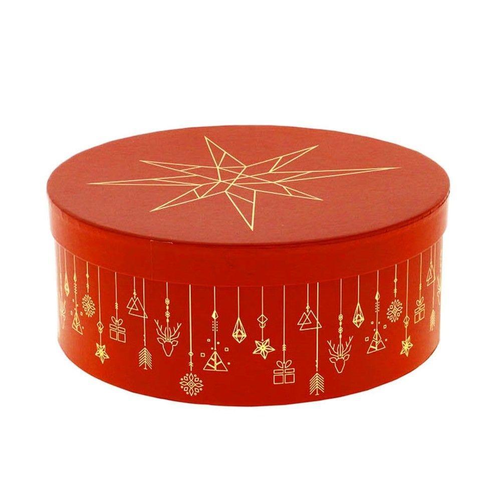 Boite a chapeau carton ronde christmas pm - par 16