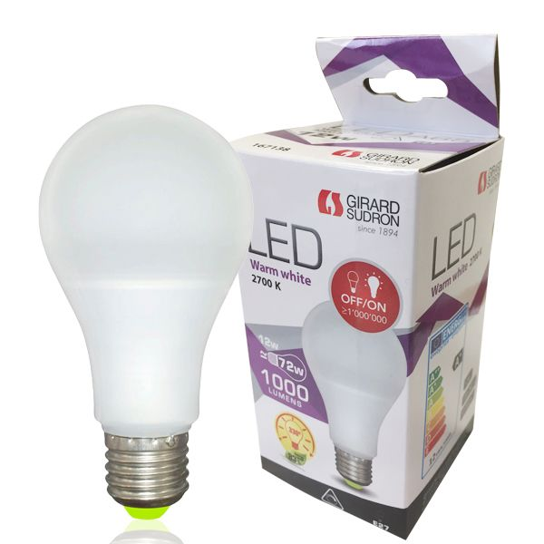 Ampoule led e27 12w 1000lm standard dimmable 2700k girard sudron (photo)