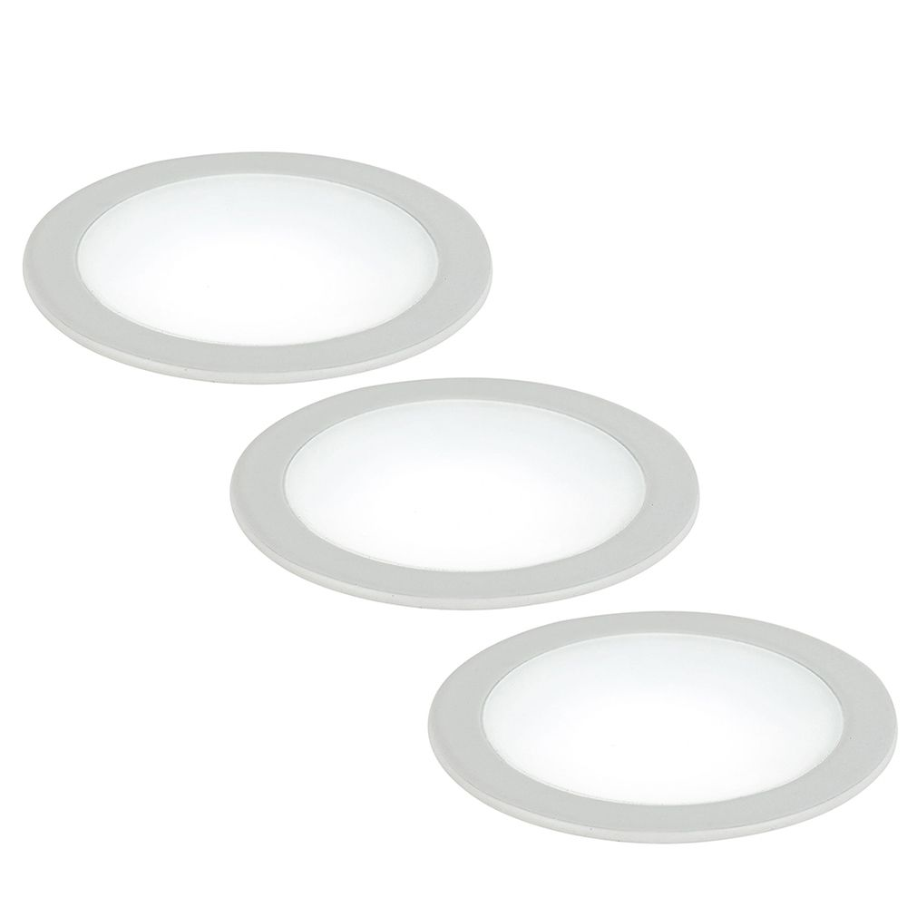 Kit 3 spots encastrés led fusion 5w 4000k 230lm 120° aluminium blanc satiné (photo)