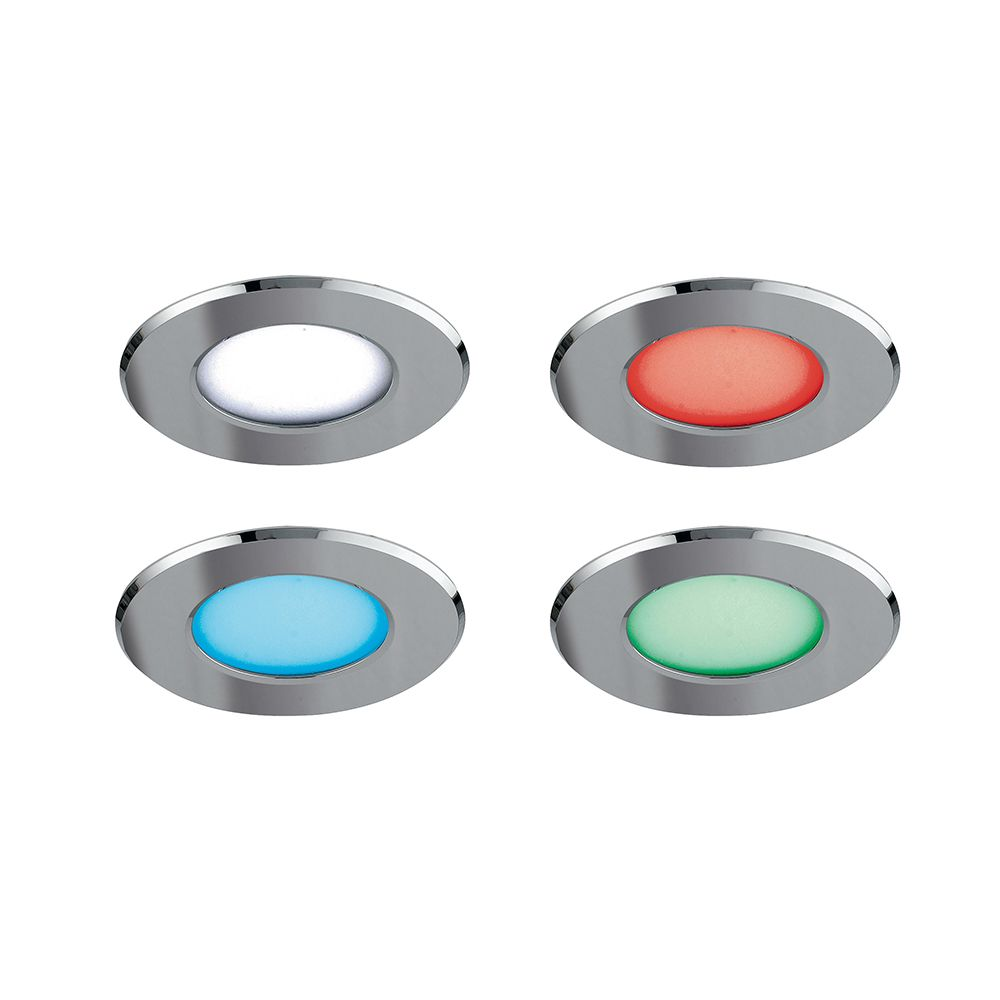 Encastré sol led rgb rainbow 5w 120° ip65 ø95mm aluminium chromé (photo)