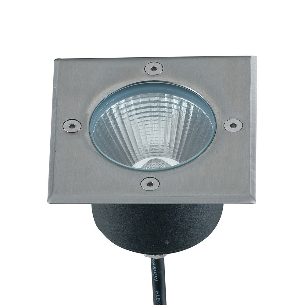 Encastré led walk carré 10w 800lm 11x11cm 4000k 30° ip67 acier inoxydable (photo)