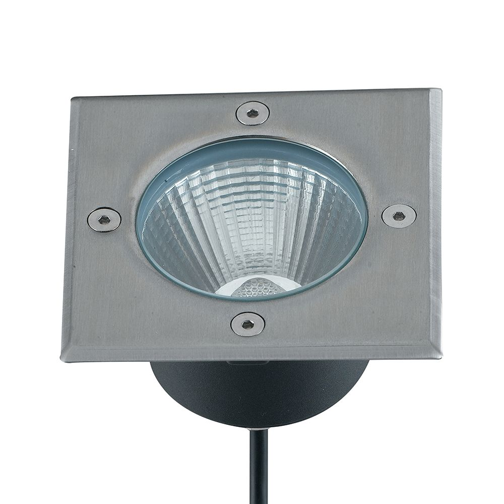 Encastré led walk carré 15w 1200lm 14x14cm 4000k 30° ip67 acier inoxydable (photo)