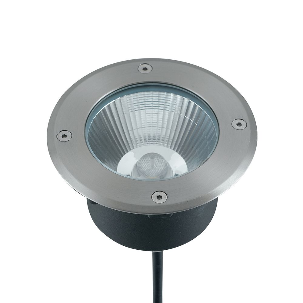 Encastré led walk rond 15w 1200lm ø14cm 4000k 30° ip67 acier inoxydable (photo)