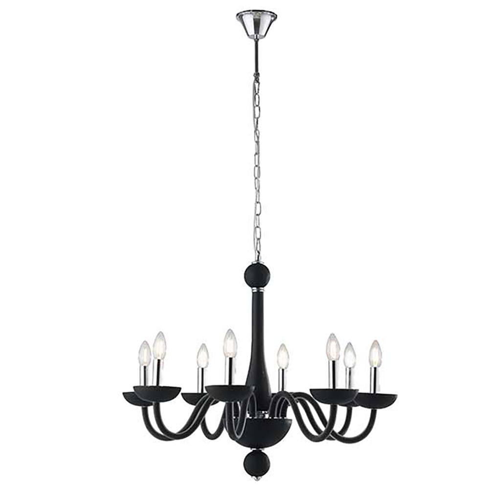 Suspension alfiere 8xe14 ø72cm verre soufflé noir satiné finition chromée (photo)