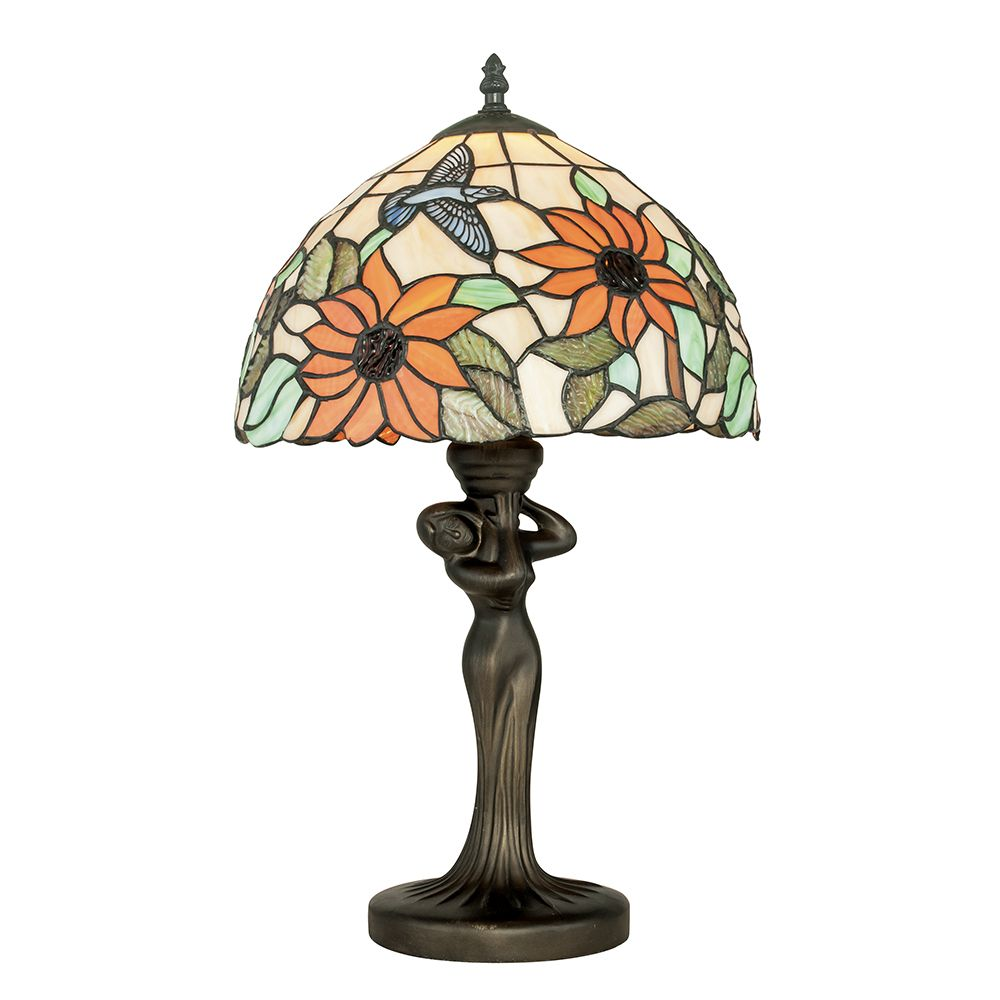 Lampe à poser dafne 1xe27 ø30cm verre tiffany (photo)