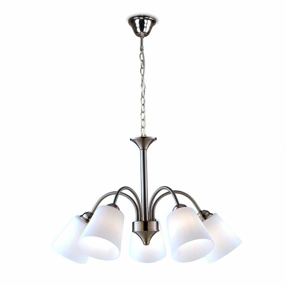 Suspension 1162 5xe14 ø60cm métal finition nickelée diffuseur en verre soufflé (photo)