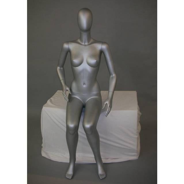 100 Mannequins homme femme assis abstrait, finition HDPS blanc mat (photo)