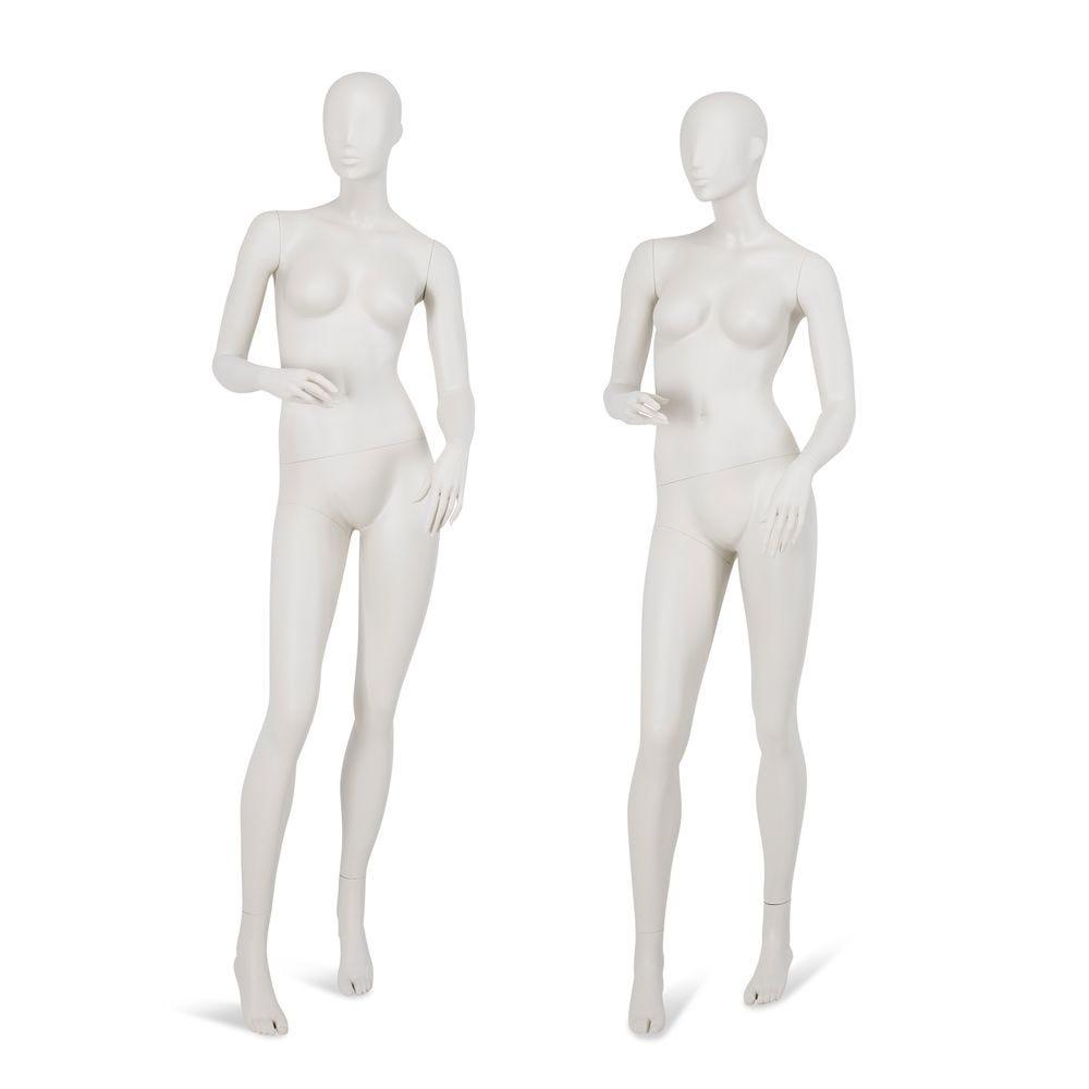 Mannequin femme tête abstraite gris clair, pieds interchangeables, pose 55