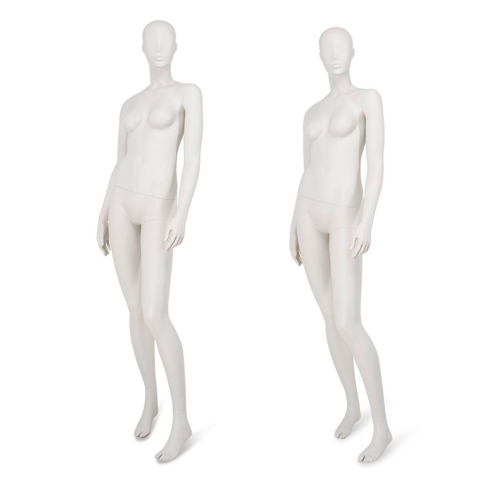 Mannequin femme tête abstraite gris clair, pieds interchangeables, pose58