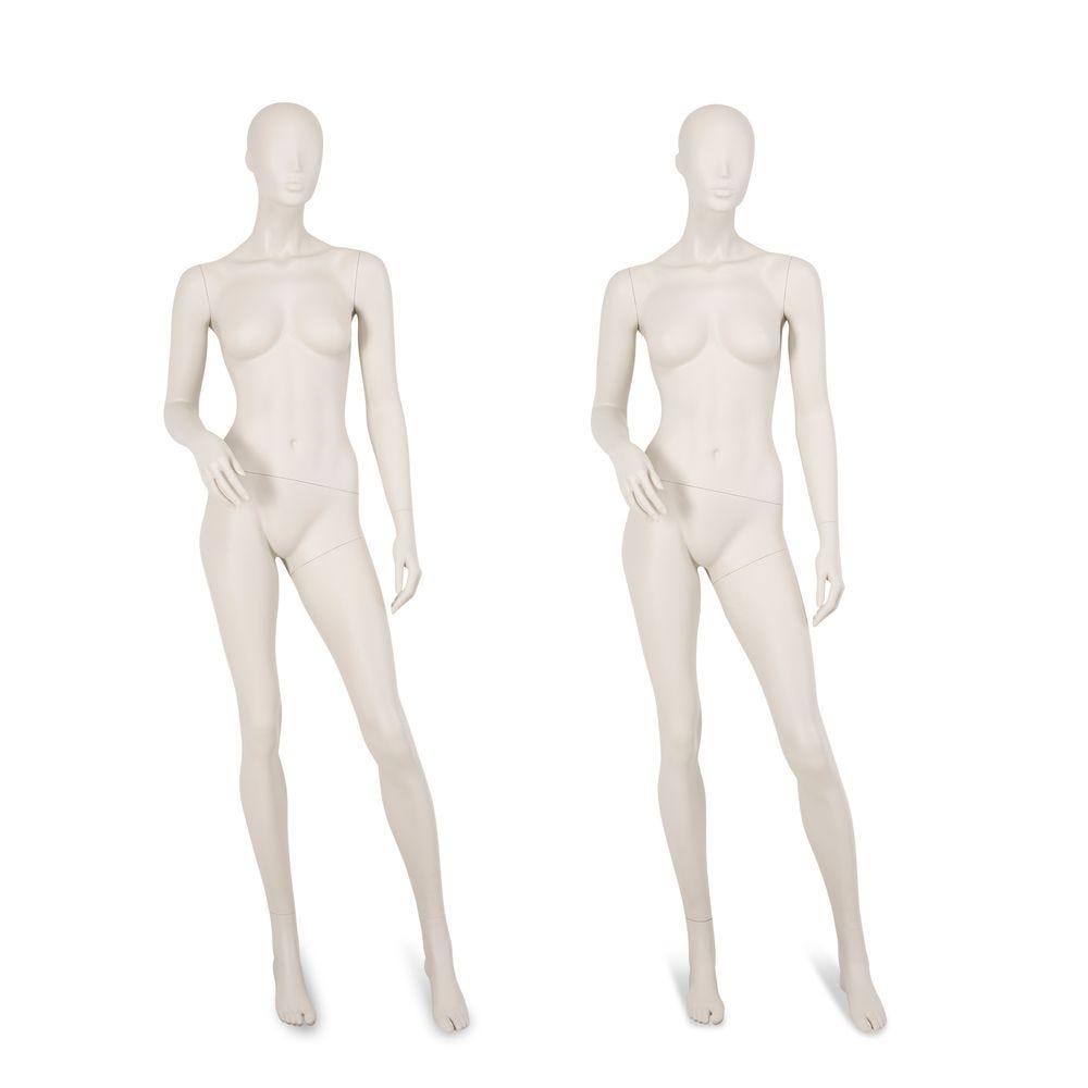 Mannequin femme tête abstraite gris clair, pieds interchangeables, pose 61