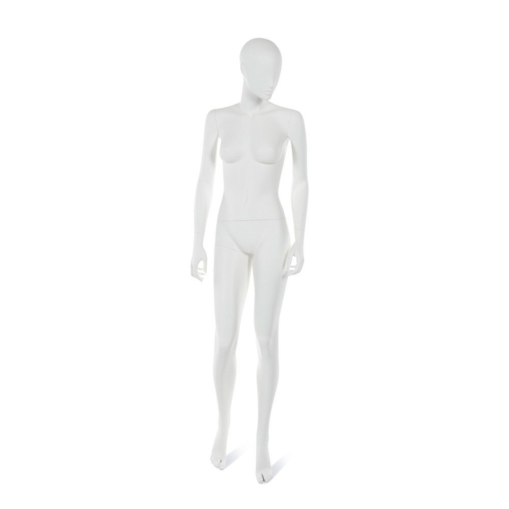 Mannequin femme visage interchangeable blanc, pose 15