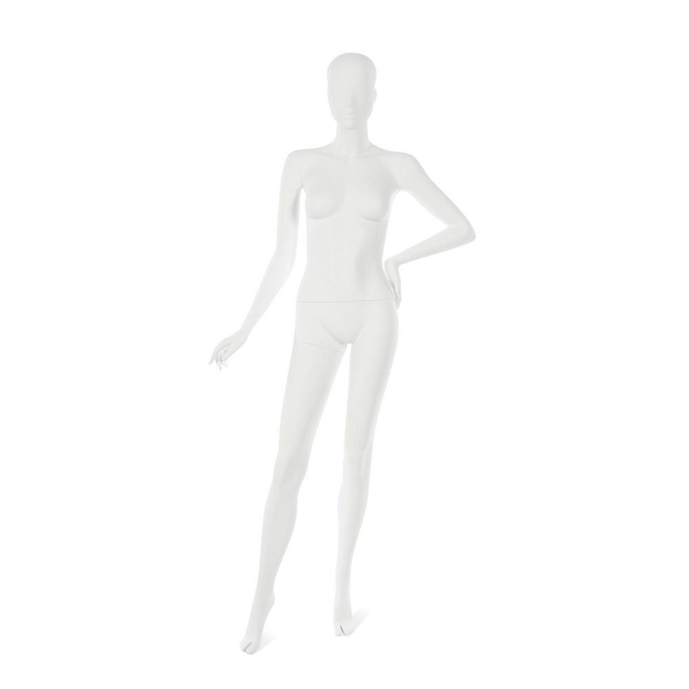Mannequin femme visage interchangeable blanc, pose 17