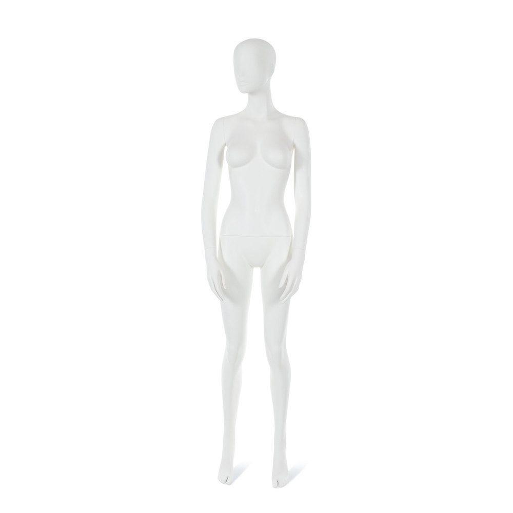 Mannequin femme visage interchangeable blanc, pose 19