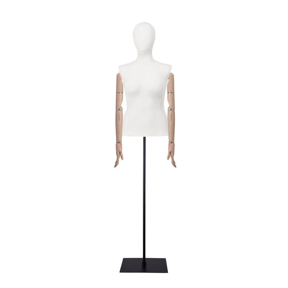 Buste femme blanc, couture, bras, socle noir, set 603