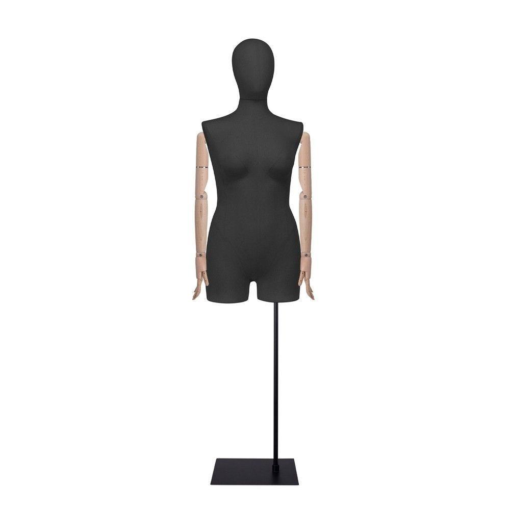 Buste femme avec jambes et bras, tissu noir, socle, set 607