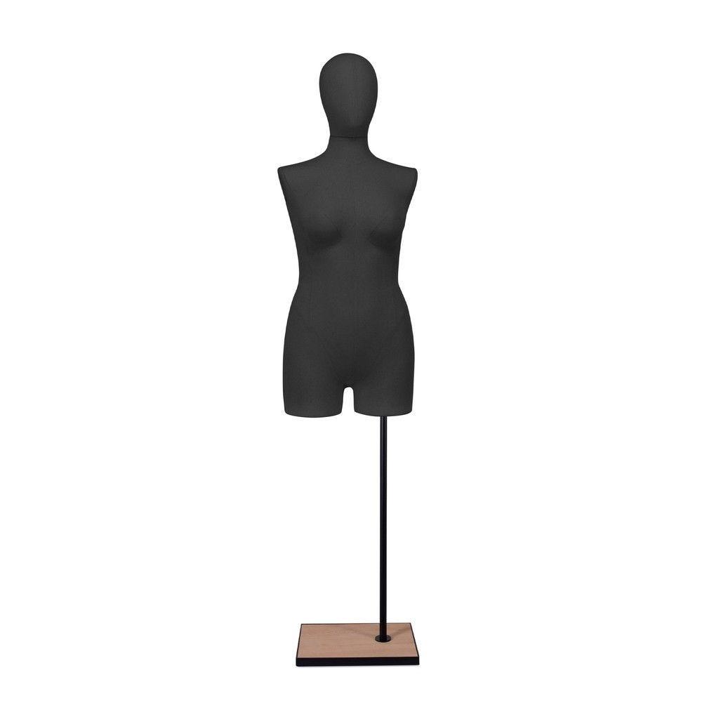 Buste femme avec jambes, tissu noir, socle, set 608