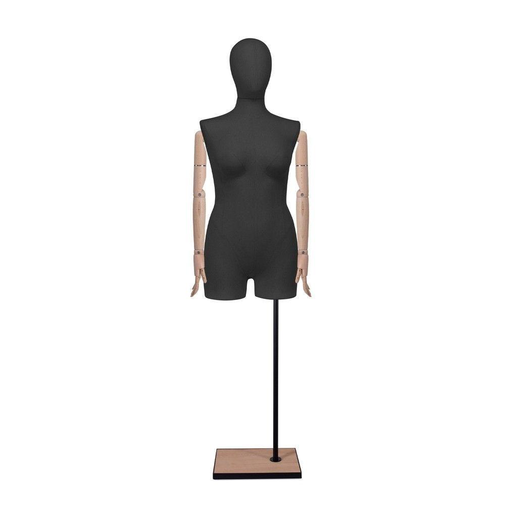 Buste femme avec jambes et bras, tissu noir, socle, set 608