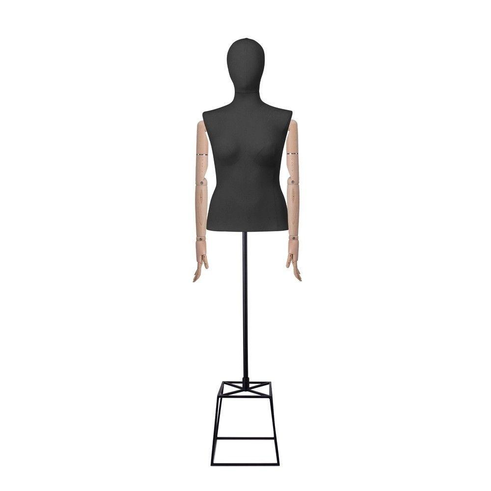 Buste femme couture, avec bras, tissu noir, cube, set 610